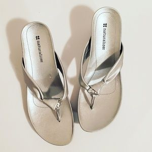 Naturalizer Silver Wedge Sandals Size 7M